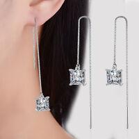 925 Sterling Silver Shiny Square Zircon Long Tassel Ear Stud Drop Earrings