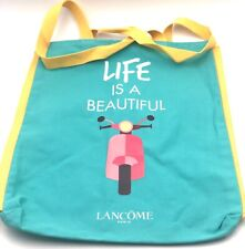 New! Lancome Canvas Tote Bag ~ Life is a Beautiful ~ Blue