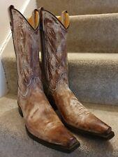 Vintage Marlboro Classic Mens Tan Leather Cowboy Boots Size 8 EU 42