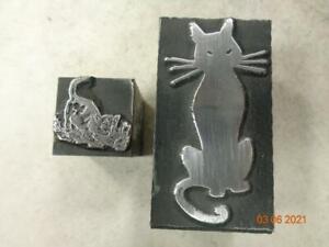 Printing Letterpress Printer Block Decorative Cat & Kitten Print Cut