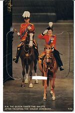 VALENTINES NOVELTY POSTCARD QUEEN TAKING SALUTE TROOPING THE COLOUR C1960