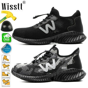 Men's Lightweight Steel Toe Safety Shoes Work Boots Casual Mesh Running Sneakers