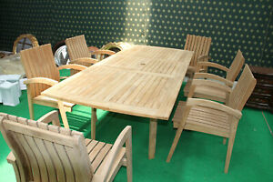 High grade TEAK WOOD Garden Set with 6 Chairs and extendable table