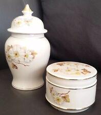 Lovely Matching Gold Gilded Vintage Sadler Bone China Tea Caddy & Trinket Box