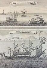 Chine Asie barques et barque de Dragon gravure 1750 Asia China boat