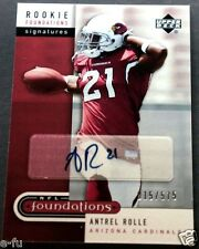 2005 UD NFL Foundations ANTREL ROLLE Cardinals Auto RC Rarer Low # #ed 15/575