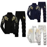 New 2Pcs/set Men Fleece Tracksuit Tops+Pants Sport Suit Size M-4XL Casual