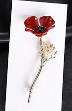 """2.5"""" Gold or Silver Tone Long Stem Red Open Enamal Poppy Flower  Brooch Pin"""