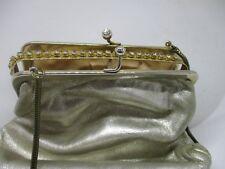 Theater Tasche - Vintage- Leder Goldfarbig  Strass. 50-60er