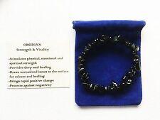 Obsidian Bracelet GEMSTONE Crystal Chip Beads Stretch 'buy 3 Get 1 '
