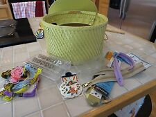 VINTAGE YELLOW PRINCESS WICKER SEWING BASKET FROM THE 1940'S plus SEWING NOTIONS