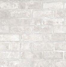 FineDecor Wallpaper - Loft Brick Wall - Metallic Silver Effect - White FD41953