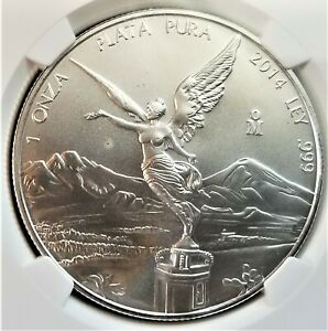 2014-Mo Mexico Onza Libertad 1 Oz Silver - NGC MS 69 - Winged Victory (006)