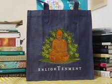 Embroidered Buddha Denim/Jeans Tote Bag: Oriental Art of Bodhisattva (Size: M)