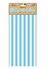 12 Blue Stripe Paper Bags - Party Treat Candy Sweet Loot Lunch Gift