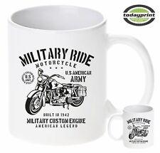 Tasse MILITARY RIDE MOTORCYCLE, US ARMY, Custom, Allied, Vintage, neu