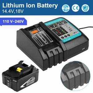1/2 x6.0Ah 18V Lithium Battery Tool Fast Charger For Makita DC18RC DC18RD New