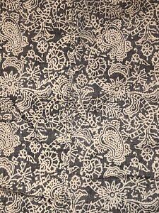 Thomas O'Brien Queen Flat Sheet Grey White Paisley 100% Cotton