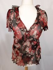 Soon Floral Wrap Top - Size 20 - Pink Mix - Sheer