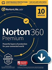 Norton 360 Premium 2021 for 10 PC/Mac/Mobile Devices 1 year --- Download