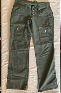 Dickies Women's Relaxed Fit Straight Leg Cargo Pants Size 11 Army Green