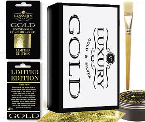 100 sheets Gold Leaf Kit -  Gold sheets 10ml Adhesive and Brush. Gilding, Art,