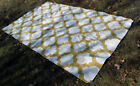 Sunflower Yellow Cream White Geometric Patterned Vintage Rug (8ft X 5ft)