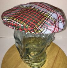 VTG WELLWOOD WEAVERS Plaid Newsboy Snap Cap Hat Selkirk Scotland British Made