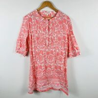Colorado Womens Tunic Top Size Medium Floral Paisley Red White Long Length