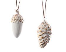 3 x Bianco e Oro Porcellana Pigna Ghianda Naturale Decorazioni Albero di Natale