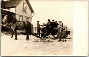 1910s Vintage RPPC Real Photo Postcard HORSE SLED Sleigh Ride / House View