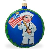 USA Navy Soldier w/ American Flag Glass Ball Patriotic Christmas Ornament 4 Inch