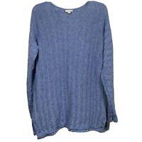 J. Jill Woman's Blue Stripe Marled Fringe Button Back Tunic Sweater Size Medium