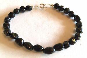 Black Tourmaline Bracelet, Genuine Natural Gemstones, 7-1/4 inch Sterling Silver
