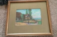 minature antique watercolour unsigned  ,beautiful nostalgic finely naive