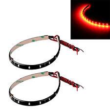 2x Lichterkette 15 LED Strips Streifen Auto KFZ 30CM Rot Licht Kette 12V DE