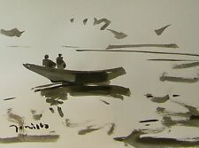 JOSE TRUJILLO MODERNIST ABSTRACT EXPRESSIONIST INK WASH LAKE ROW BOAT FIGURES