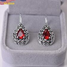 Artificial Ruby Drop Earrings Birthday Gift 925 Silver Plated Boho Style