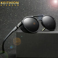 Unisex Vintage Polarized Steampunk Sunglasses Fashion Round Mirror Retro Eyewear