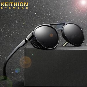 Unisex Vintage Polarized Steampunk Sunglasses Fashion Round Mirror Retro Eyewear
