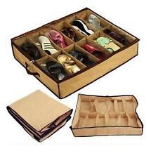 New Women Home 12 Pairs Shoe Organizer Storage Box Holder Under Bed Closet