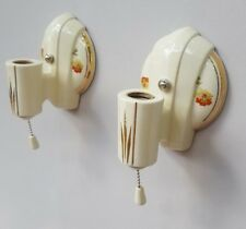 Pair Art Deco Porcelier Porcelain Sconces, Vintage, New Wire, Good Pull Switches