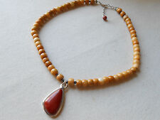 Silpada Sterling Silver Red & Yellow Jasper Bead Necklace N1137 RE4393