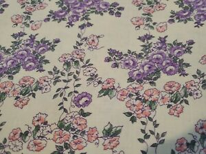 "Vintage Feed Sack ~ white w/ pink purple morning glory flowers 36""x23"""