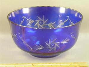 VINTAGE BOHEMIAN CZECH LARGE CENTER BOWL BLUE CUT TO GLEAR GLASS