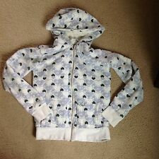 O'Neill White Insulated Sweatshirt with Hearts and Fur Lined Hoodie Zip Up~XL