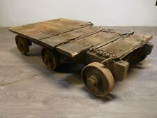 ANTIQUE / VINTAGE INDUSTRIAL WOOD & CAST IRON MILL FACTORY TROLLEY, LUGGAGE CART
