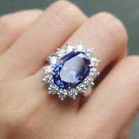 4.50Ct Oval Cut Blue Tanzanite Cocktail Anniversary Ring 14k White Gold Finish