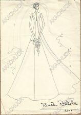 RENATO BALESTRA Italian Fashion Designer ORIGINAL SKETCH Mrs Peter Finch 1970s