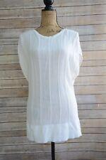 ONE 7 SIX - Ivory SHEER knit soft COTTON-rayon blend sleeveless sweater, size L